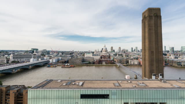 LONDON - Time Lapse of St Paul Cathedral from rooftop over the Thames
