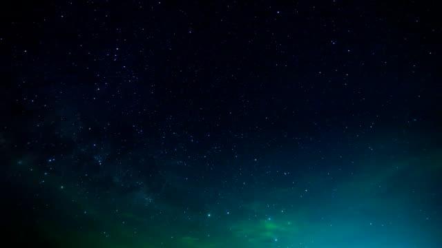 Zeitraffer der Sterne und die Milchstraße.