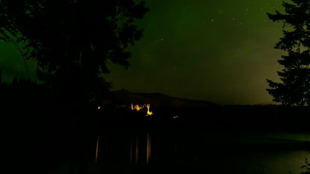 time lapse of stars over mountain lake - camp fire stock videos & royalty-free footage