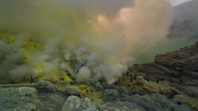 Time lapse of sulfur mine at Kawah Ijen volcano crater