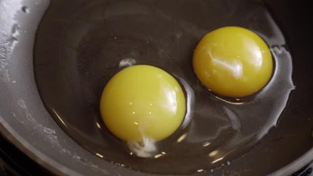 vídeos y material grabado en eventos de stock de time lapse of sunny side eggs frying in a skillet on a stove in a kitchen - huevos fritos de un solo lado