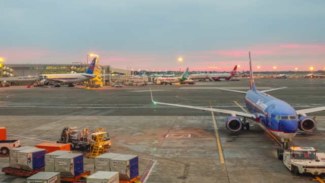 time lapse of sunrise and busy airport at jfk - campo d'aviazione video stock e b–roll