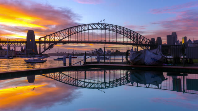 time lapse of sunrise at sydney harbour bridge - international landmark stock videos & royalty-free footage