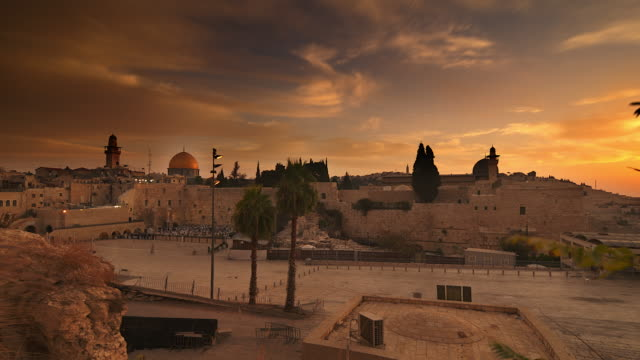 time lapse of sunrise over old jerusalem - jerusalem stock videos & royalty-free footage