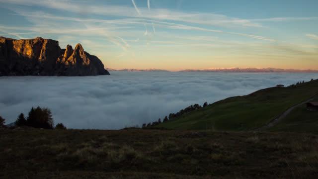 Time Lapse of Sunrise with Sea of Mist, Dolomites
