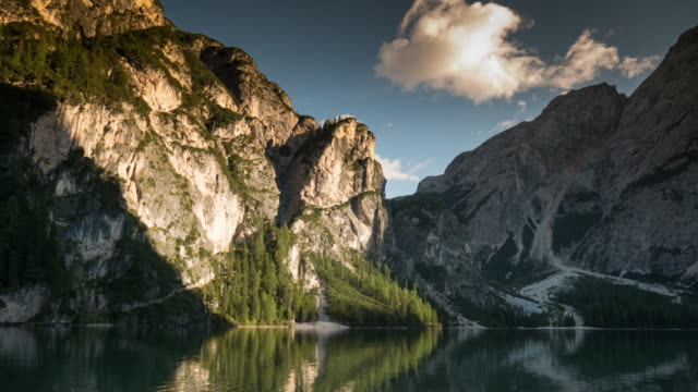 Time Lapse of Sunset at lago di braies , south tyrol , dolomites , Italy