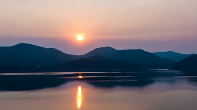 time lapse of sunset at lake - lake stock videos & royalty-free footage