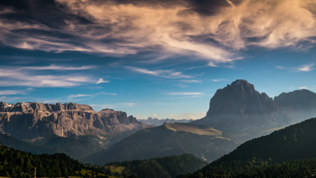 Time Lapse of sunset at Seceda Ortisei South tyrol , dolomites , Italy