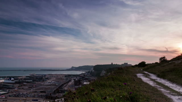 DOVER - CIRCA 2012: Time lapse of Sunset at the port of Dover