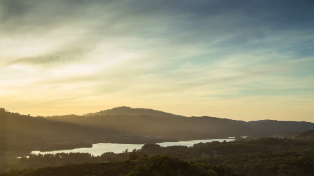 time lapse of sunset at upper crystal springs reservoir, san francisco peninsula - reservoir stock videos & royalty-free footage