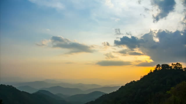4K Time Lapse of sunset behind the mountain in Chiang Mai Province Thailand