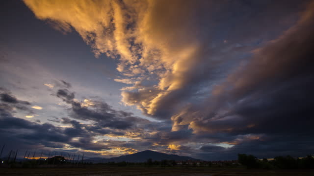 Time Lapse of Sunset on the sky with cloudy