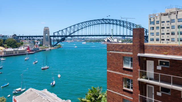 Time lapse of Sydney Harbor Bridge at summer afternoon.