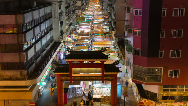 Time Lapse of Temple street night market
