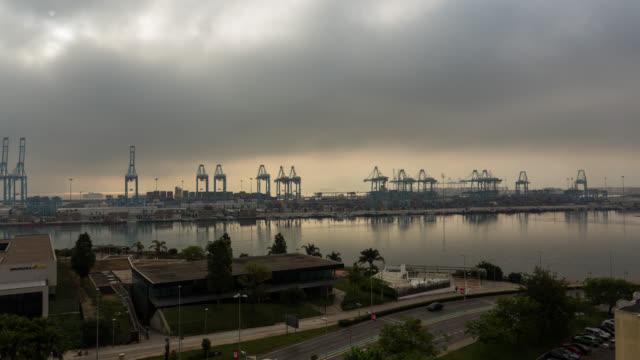 algeciras tl: time lapse of the algeciras port near gibraltar in spain in a foggy morning - cádiz stock videos and b-roll footage