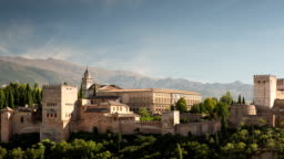 Time lapse of the alhambra palace in granada, spain