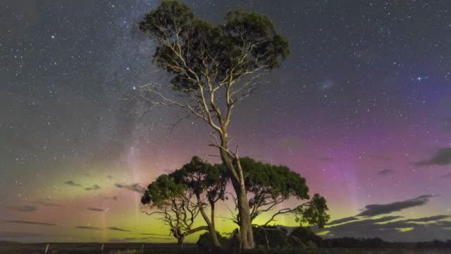time lapse of the aurora australis or southern lights with vivid blue aurora following the st patricks day aurora event 2015, tasmania. - aurora australis stock videos & royalty-free footage