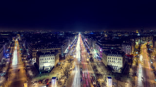 "time lapse of the ""avenue des champs-élysées"" - avenue des champs elysees stock videos & royalty-free footage"