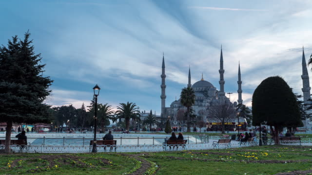 ISTANBUL - CIRCA 2014: Time Lapse of the Blue Mosque and Sultan Ahmet Park during the sunset in Istanbul, Turkey
