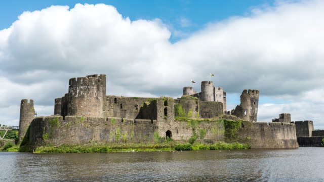 wales - time lapse of the caerphilly castle i south wales - south wales stock videos & royalty-free footage