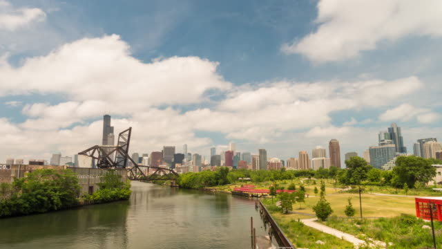 Time lapse of The Chicago River and downtown Chicago skyline USA