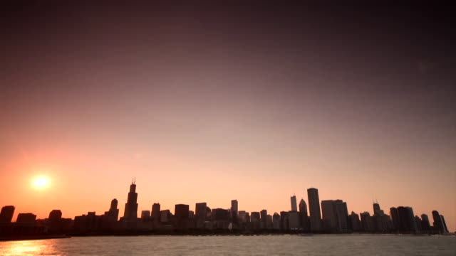 Time Lapse of the Chicago skyline at sunset from Lake Michigan