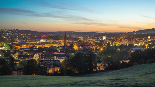 time lapse of the city of bath, england during sunset, as seen from bathwick hill on august 28 2020, in bath, somerset - time lapse stock videos & royalty-free footage