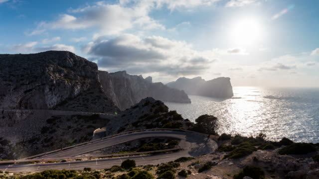PALMA DE MALLORCA - CIRCA 2013: Time lapse of the Cliffs and the sun from the northen light house