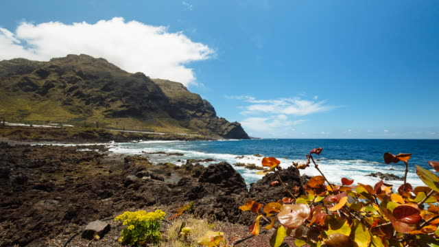 4K Time lapse of the coast of Buenavista, Tenerife, Spain with the atlantic ocean and landscapes