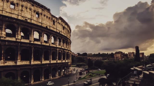time lapse of the coliseum of rome - amphitheatre stock videos & royalty-free footage