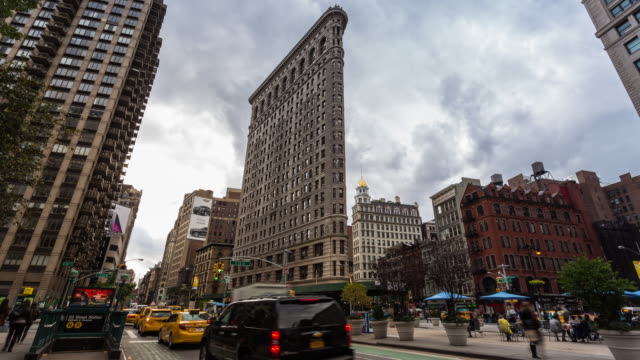NEW YORK - CIRCA 2014: Time Lapse of the Flatiron Building in cloudy day