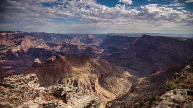 vídeos de stock e filmes b-roll de time lapse of the grand canyon from navajo point - grand canyon