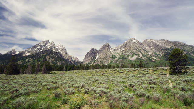 time lapse of the grand teton mountains with clouds and vegetation - grand teton stock-videos und b-roll-filmmaterial