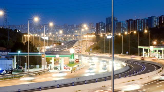 Zeitraffer des highway, um Barcelona