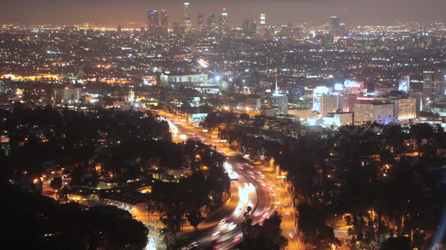 Time lapse of the Hollywood Freeway in Los Angeles looking towards downtown Los Angeles during magic hour