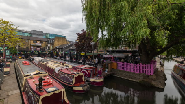 london: time lapse of the iconic camden town - canal stock videos & royalty-free footage