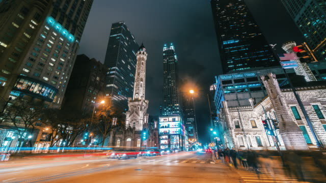 4k time lapse of the magnificent mile on north michigan avenue at nigttime in chicago, united states - fast motion time lapse stock videos & royalty-free footage