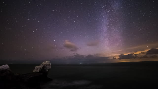 portland - circa 2014: time lapse of the milky way at the pulpit rock for the geminid meteor shower - meteor stock videos & royalty-free footage