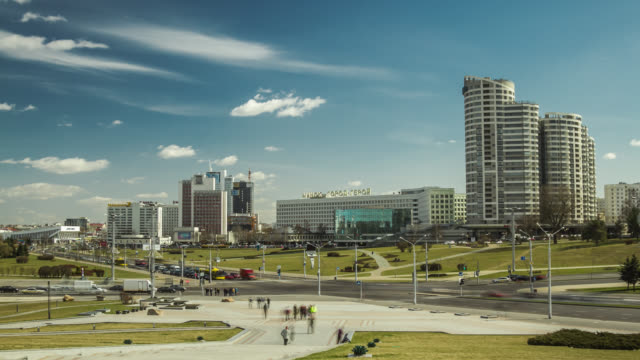 Time lapse of the Minsk city down town around Victor's avenue, Belarus.
