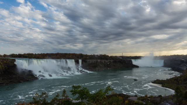 NIAGARA FALLS - CIRCA 2014: Time Lapse of the Niagara Falls from Canada in a sunny and cloudy day