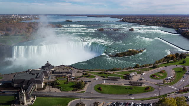 NIAGARA FALLS - CIRCA 2014: Time Lapse of the Niagara Falls from roof top in Canada in a sunny day
