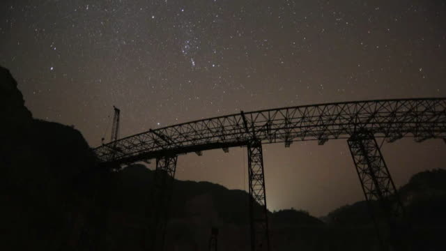 Time lapse of the night sky over the Five hundred meter Aperture Spherical Telescope in Guizhou Province China