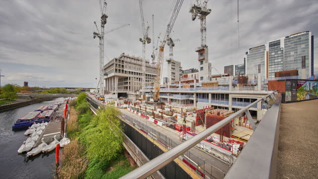 a time lapse of the on going construction of the east bank arts and culture centre in stratford - bbc stock videos & royalty-free footage