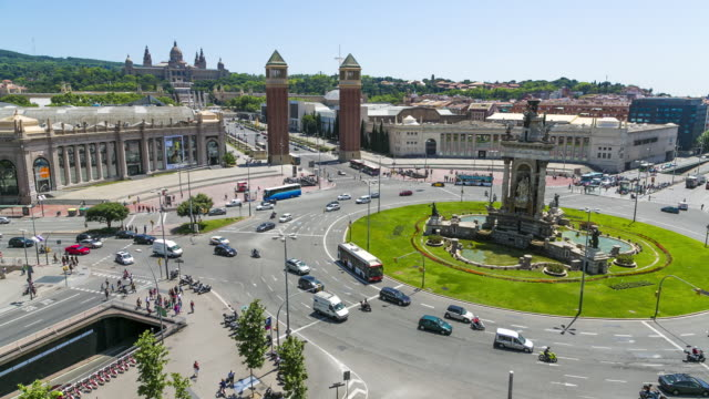 Time Lapse of the Plaça d'Espanya, Barcelona, Catalonia (Catalunya), Spain