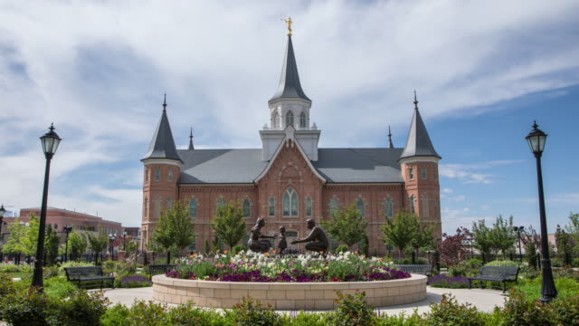 time lapse of the provo city center temple - provo stock videos and b-roll footage