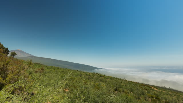 4K Time lapse of the sea of clouds of Las Cañadas with El Teide at the background, spring 2016, tenerife, Spain