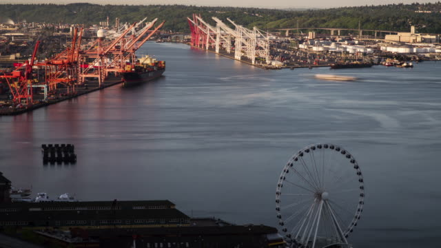 w/s time lapse of the seattle's industrial area during sunrise - filiz stock videos & royalty-free footage
