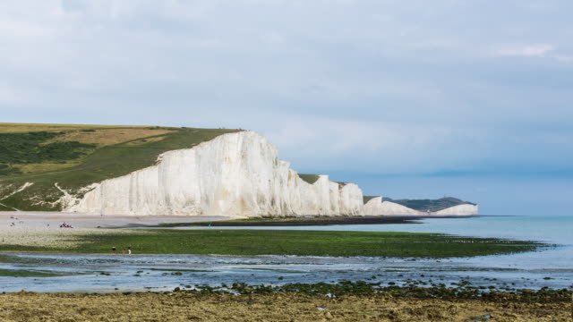 SEVEN SISTERS CLIFFS - CIRCA 2014: Time Lapse of the Seven Sisters Cliffs on a sunny day with clouds