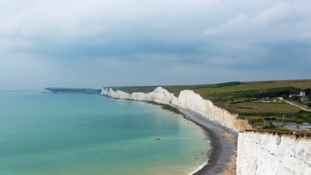 SEVEN SISTERS CLIFFS - CIRCA 2014: Time Lapse of the Seven Sisters Cliffs on rainy day
