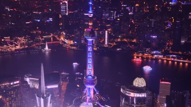 time lapse of the shanghai cityscape at night from above. - river huangpu stock videos & royalty-free footage